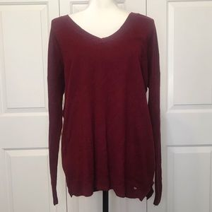 • AEO Maroon Red V-Neck Pullover Sweater •